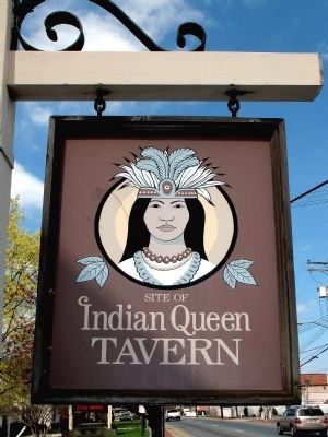 Indian Queen Tavern sign image. Click for full size.