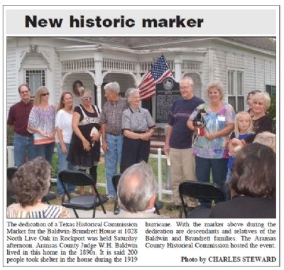 Baldwin-Brundrett House Marker Dedication in Rockport Pilot image. Click for full size.