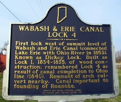 Wabash & Erie Canal Lock 4 Marker image. Click for full size.