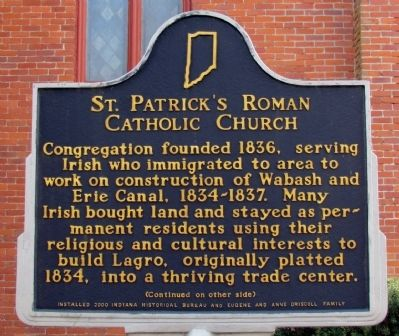 St. Patrick's Roman Catholic Church Marker image. Click for full size.