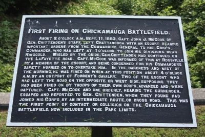 First Firing on Chickamauga Battlefield Marker image. Click for full size.