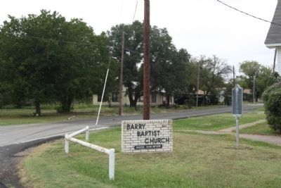 Barry Baptist Church Marker seen at Houston Street image. Click for full size.