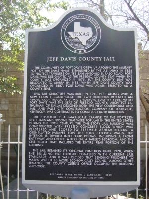 Jeff Davis County Jail Marker image. Click for full size.