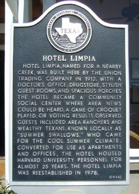 Hotel Limpia Marker image. Click for full size.