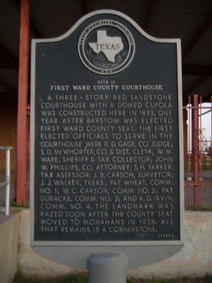 First Ward County Courthouse Marker image. Click for full size.