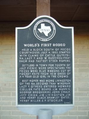 World's First Rodeo Marker image. Click for full size.