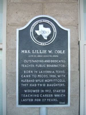 Mrs. Lillie W. Cole Marker image. Click for full size.