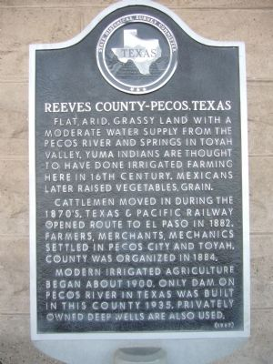 Reeves County-Pecos, Texas Marker image. Click for full size.