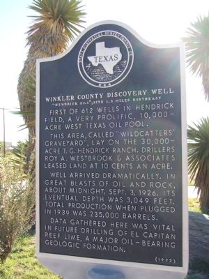 Winkler County Discovery Well Marker image. Click for full size.