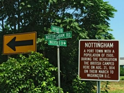 Nottingham Marker at Nottingham Road, Tanyard Road and Watershed Drive image. Click for full size.