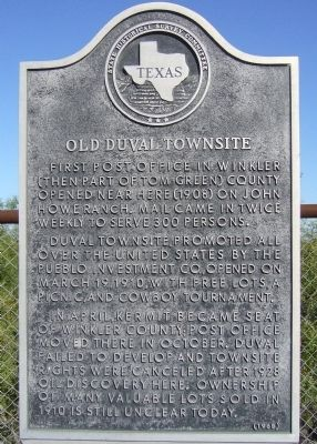 Old Duval Townsite Marker image. Click for full size.