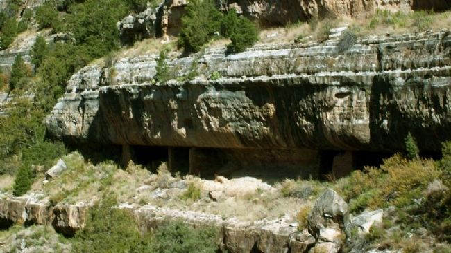 Walnut Canyon Shelters Along North Outer Wall image. Click for full size.