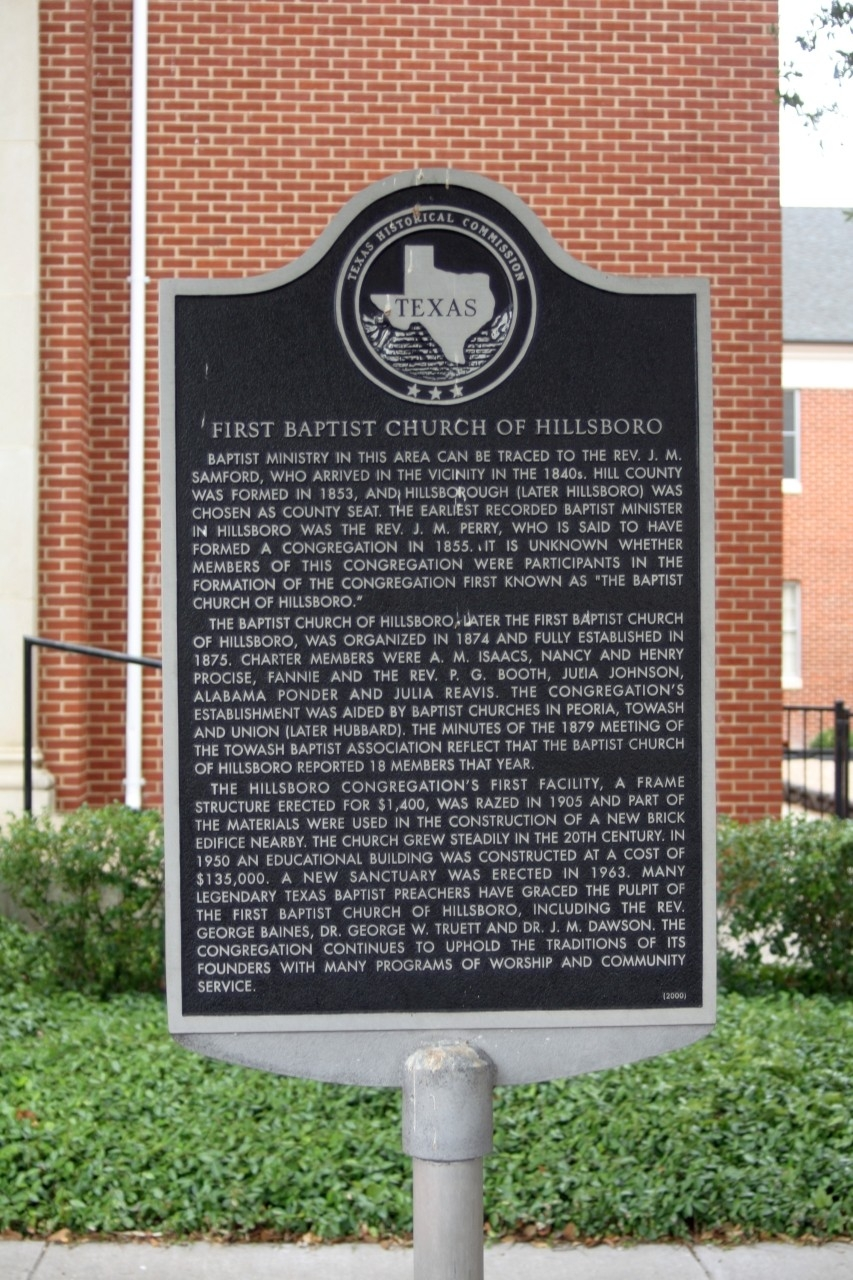 First Baptist Church of Hillsboro Marker