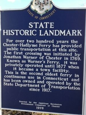 Chester-Hadlyme Ferry Marker image. Click for full size.