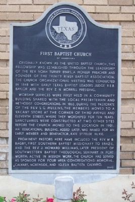 First Baptist Church of Corsicana Marker image. Click for full size.