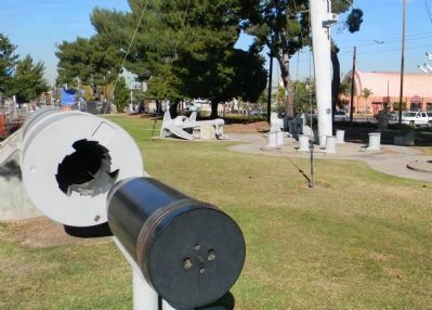 Restored 8-inch gun barrel, anchors and other donated relics in John S. Gibson, Jr. Park image. Click for full size.
