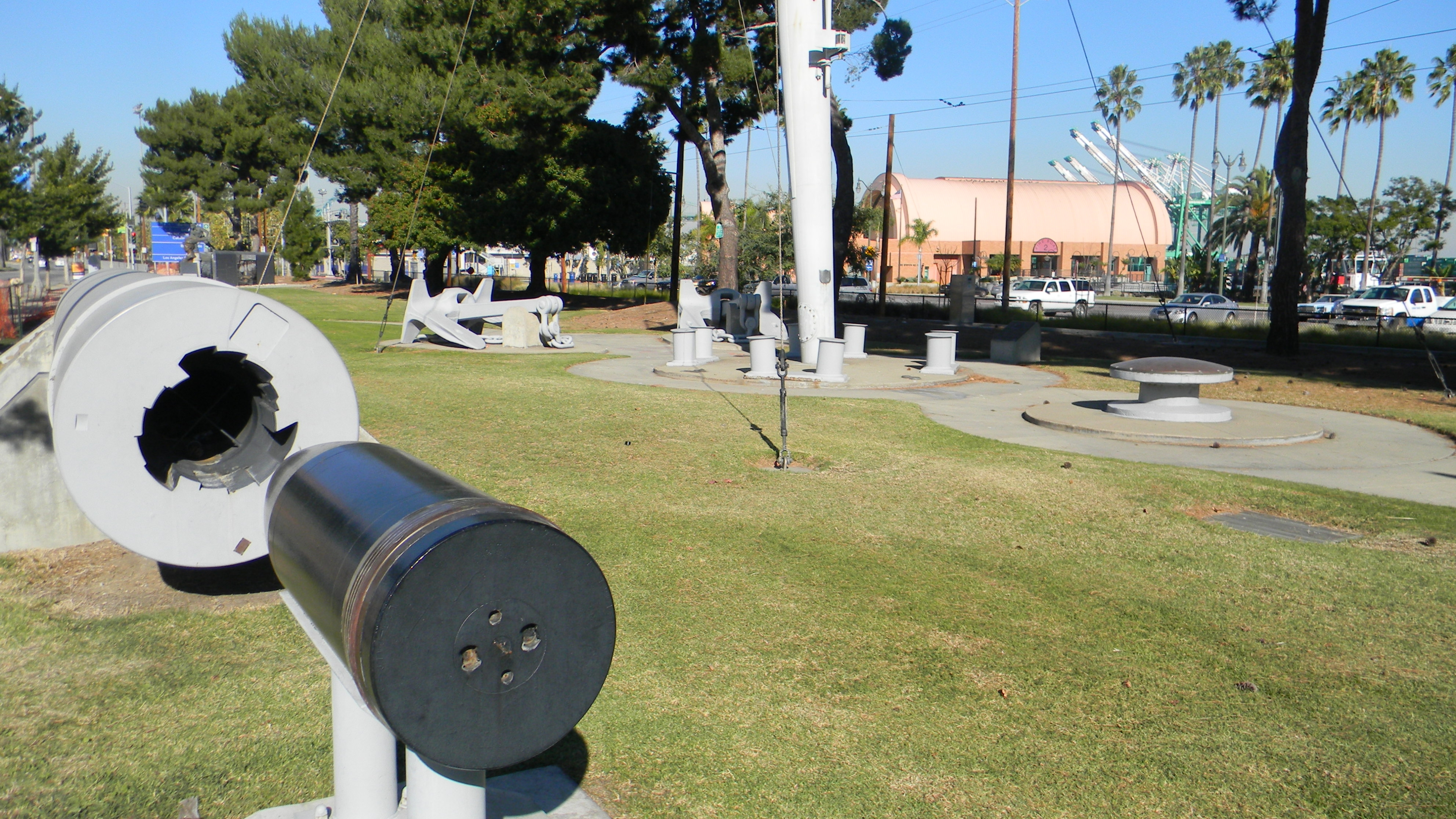 Restored 8-inch gun barrel, anchors and other donated relics in John S. Gibson, Jr. Park