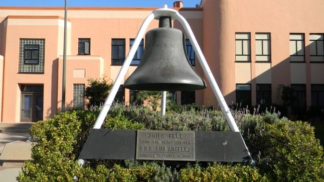U.S.S. <i>Los Angeles</i> ship&#39;s bell - on display in front of the nearby L. A. Maritime Museum image. Click for full size.
