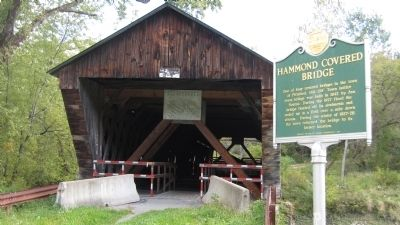 Hammond Covered Bridge Marker and bridge. image. Click for full size.