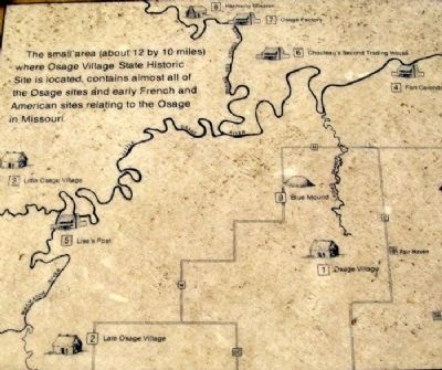Map of Osage Sites in the Area on Marker image. Click for full size.