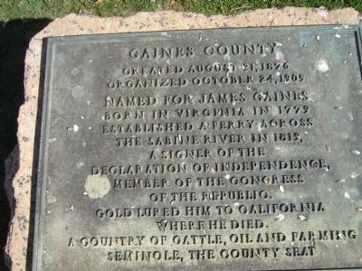 Gaines County Marker image. Click for full size.