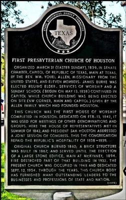 First Presbyterian Church of Houston Marker image. Click for full size.