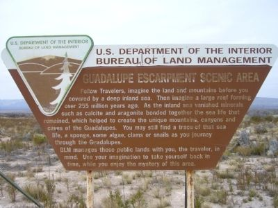 Guadalupe Escarpment Scenic Area Marker image. Click for full size.