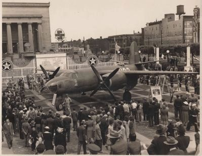 Martin B-26 in front of War Memorial Building during WW II image. Click for full size.