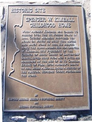 Spencer W. Kimball Childhood Home Marker image. Click for full size.