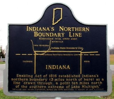 Indiana's Northern Boundary Line Marker image. Click for full size.