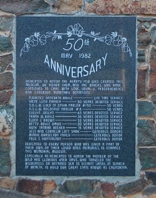 50th Aniversary Plaque on the Pioneer Museum Building image. Click for full size.