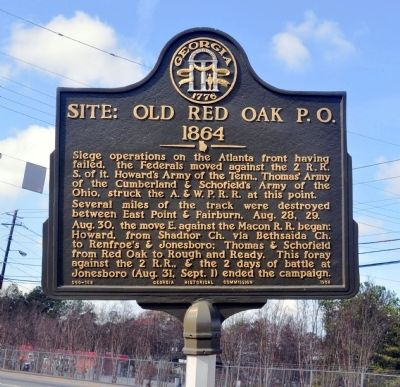 Site: Old Red Oak P.O. 1864 Marker image. Click for full size.