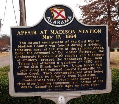Affair at Madison Station / Affair at Indian Creek Ford Marker - Affair at Madison Station [Front] image. Click for full size.