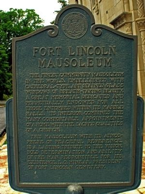 Fort Lincoln Mausoleum Marker image. Click for full size.