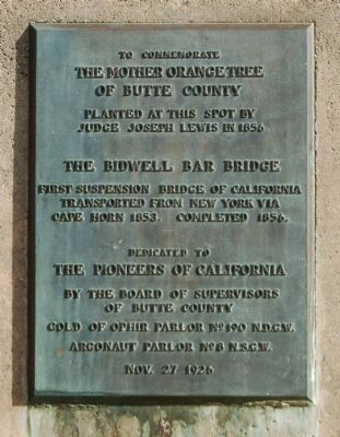 The Mother Orange Tree of Butte County Marker image. Click for full size.