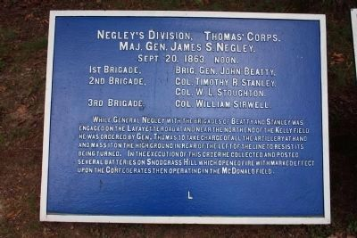 Negley's Division. Marker image. Click for full size.