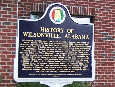History of Wilsonville, Alabama Marker image. Click for full size.