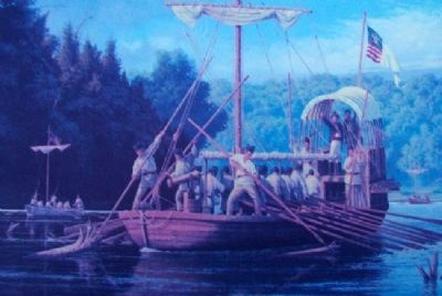 Painting on The Lewis and Clark Expedition Across Missouri Marker image. Click for full size.
