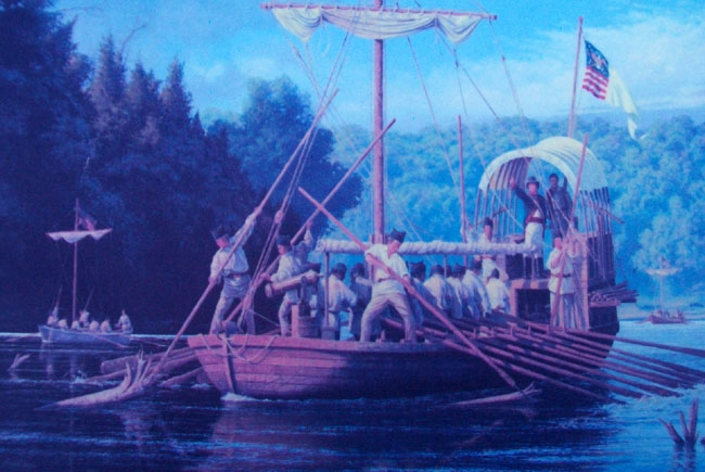 Painting on The Lewis and Clark Expedition Across Missouri Marker