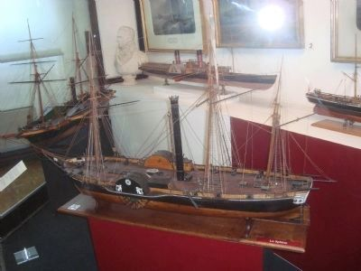 Model of the paddle steamer Sphinx image. Click for full size.