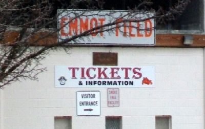 Emmot Field Sign Above Ticket Windows image. Click for full size.