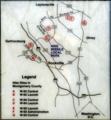 Map of Montgomery County Nike Sites, from the marker image. Click for full size.