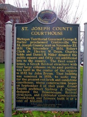 St. Joseph County Courthouse Marker (front) image. Click for full size.