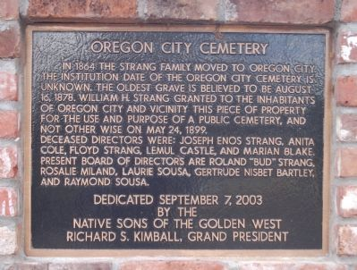 Oregon City Cemetery Marker image. Click for full size.