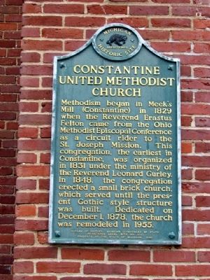 Constantine United Methodist Church Marker image. Click for full size.