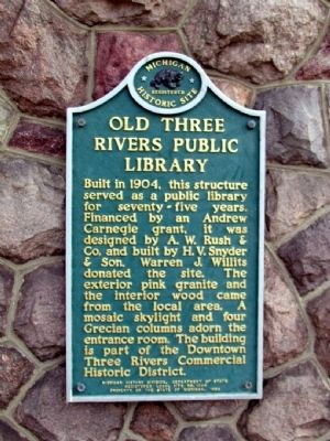 Old Three Rivers Public Library Marker image. Click for full size.