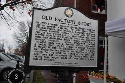 Old Factory Store Marker (side 1) image. Click for full size.