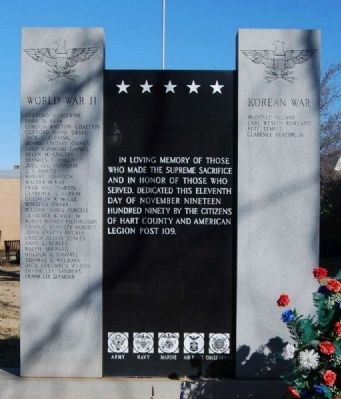 Hart County World War II & Korean War Memorial image. Click for full size.