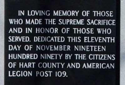 Hart County World War II & Korean War Memorial<br>Center Inscription image. Click for full size.