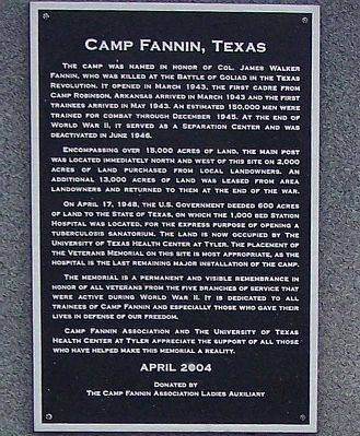 Camp Fannin, Texas Marker image. Click for full size.